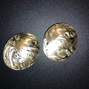 Round Gold Tone Etched Vintage Earrings